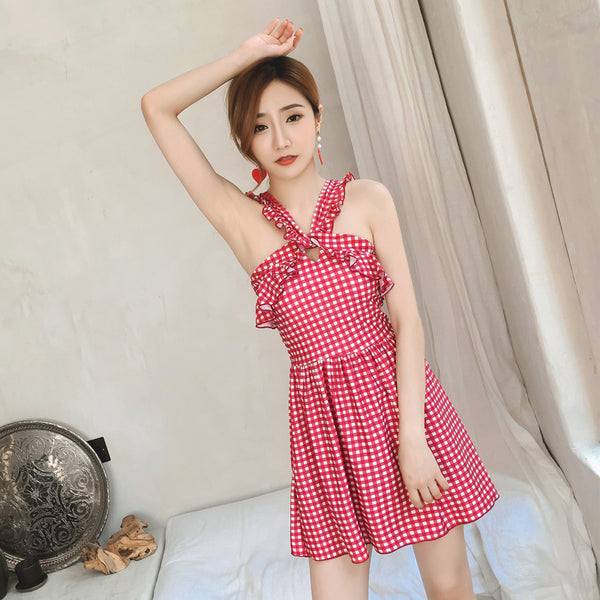 New Korean plaid ruffled one-piece swimsuit female high waist sexy swimsuit