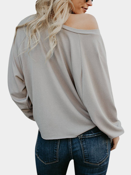 Women's long-sleeved solid color hem tied T-shirt tops