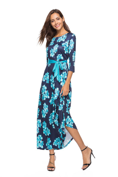 Summer Europe and America Printed Round Neck Cropped Sleeve Dress