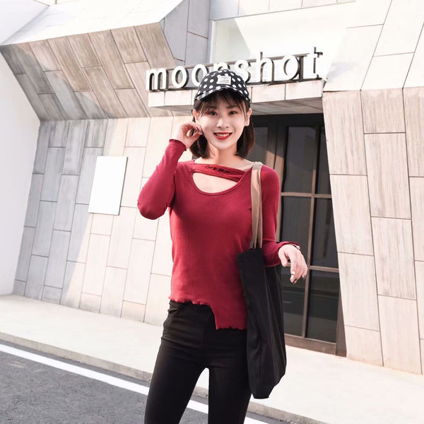 New stretch long-sleeved T-shirt large size wild irregular bottoming shirt
