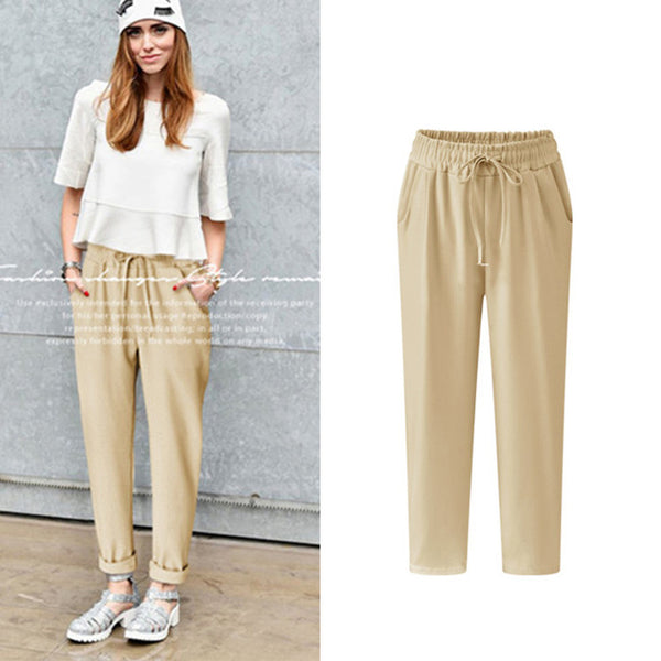 Spring and summer high waist elastic casual trousers women's harem pants thin section