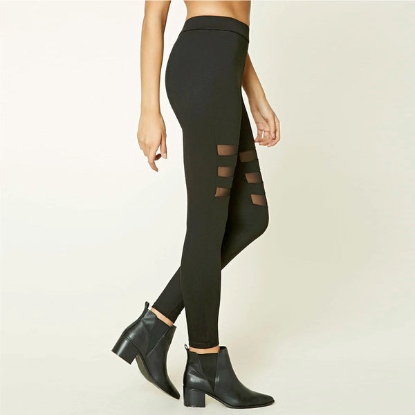 Sexy Mesh Patchwork Black Hollow Out Leggings