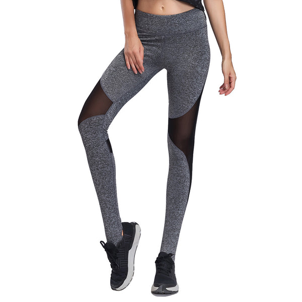 Mesh Insert Heathered Knit Stirrup Leggings trousers
