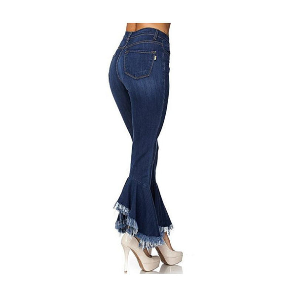 Cowboy Elastic force Europe and America Thin Slim Tassels horn high-waisted New trend Jeans