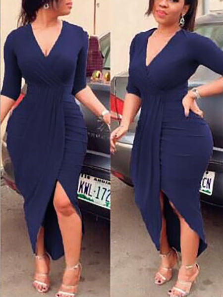 Long Sleeve Deep V Neck Split Ruched Wrap Bodycon Dress Cocktail Dress