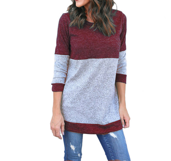 Women's shirts  hot sale stitching sweater T-shirt