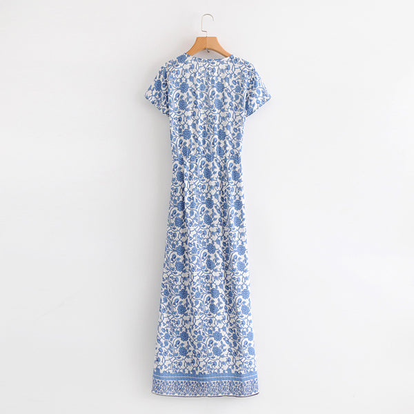 Women's blue and white V-neck printed beach dress