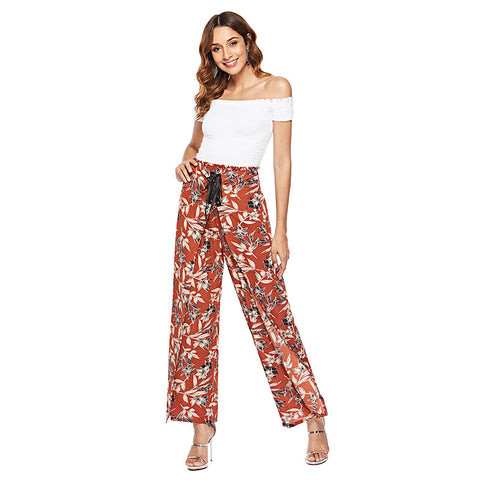 Europe and the United States printing high waist loose casual wide leg trousers casual pants