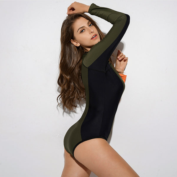 2019 Europe and the United States sexy Siamese women's swimwear hot springs long-sleeved slim surf diving suit swimsuit