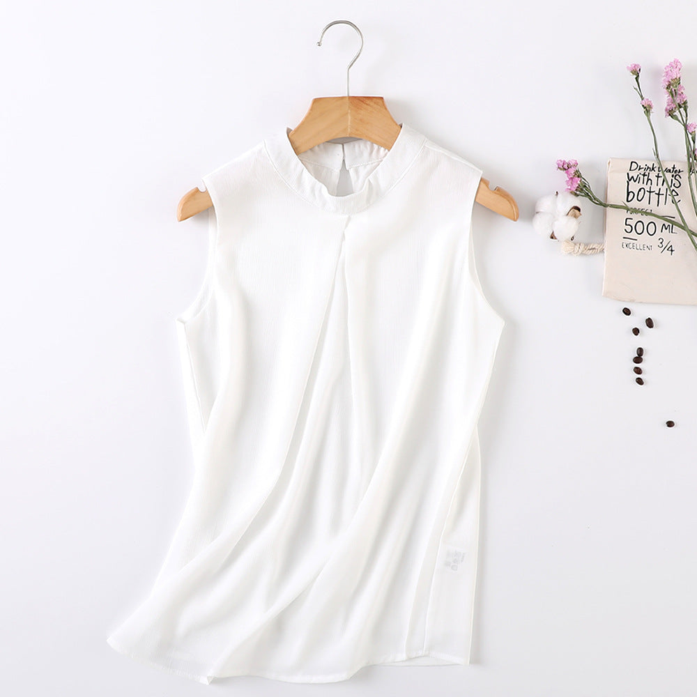 Spring and summer new high collar chiffon vest double sleeveless t-shirt loose sling