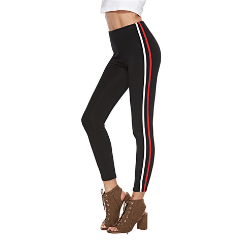Autumn and winter new European and American striped leggings casual nine pants