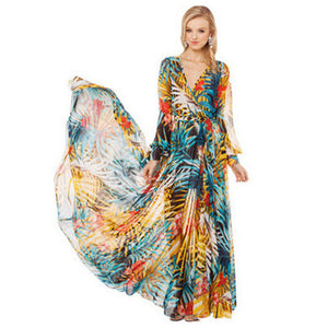 Bohemian Lantern sleeves chiffon large swing skirt long sleeve V-neck dress beach skirt