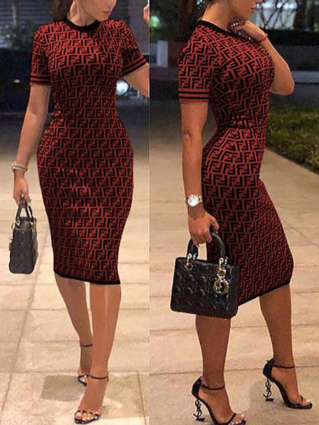 Slit Back Bow Cuff Bodycon Dress