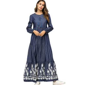 Middle Eastern Muslim robes denim stitching embroidered fishtail pleated long-sleeved dress