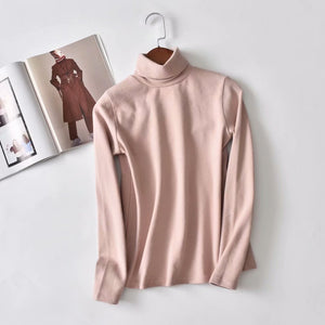 New shirt solid color high collar bottoming shirt ladies long-sleeved T-shirt