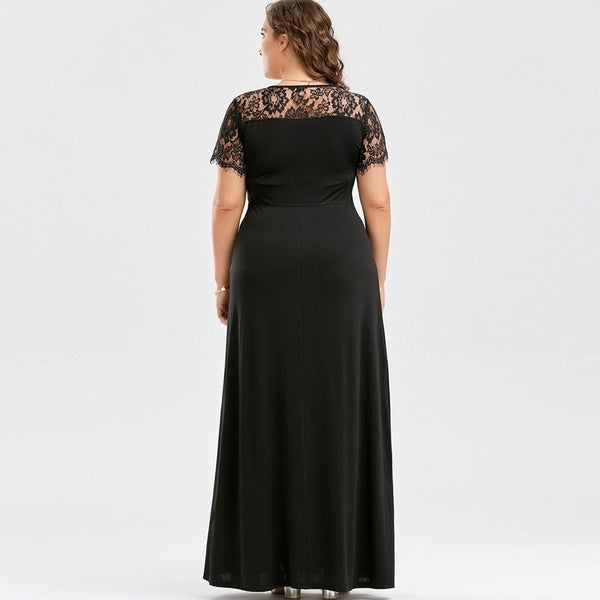 Women Long Sleeve Lace Long Evening Party Prom Gown Formal Dress