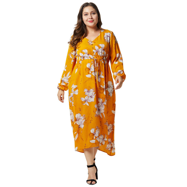 Large size women's chiffon print dress