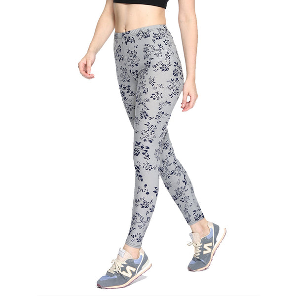 Women's Leggings Simple Floral Printing Stretchy Skinny Elastic Waist All Match Trousers