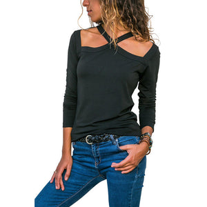 Hanging neck cross with strapless sexy long-sleeved T-shirt