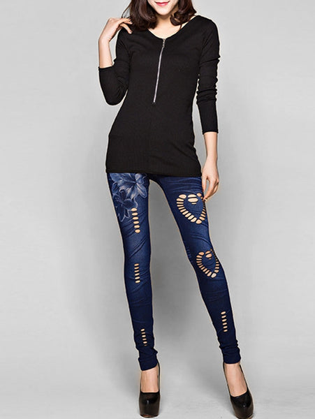 Hole Heart Printing Faux Denim Pants