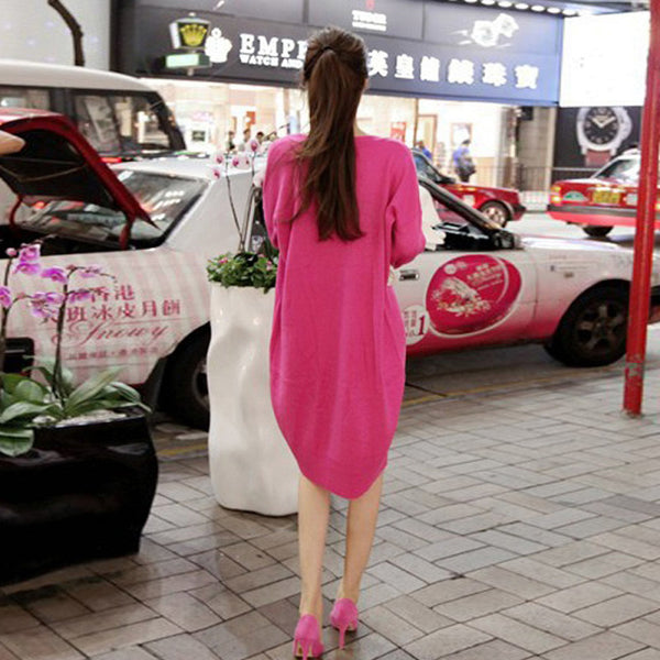 Spring and autumn new women's small fragrance V-neck long-sleeved sweater  large size loose long section