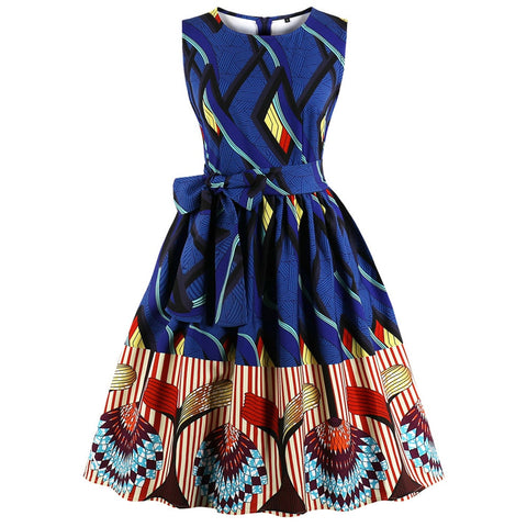 Zaful Hepburn Vintage Series Women Dress Spring And Summer Round Neck Fashion National Printing Design Sleeveless Corset Retro Belt Dress
