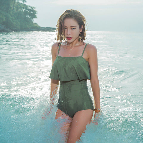 new ruffled sling swimsuit female slim cover belly hips one-piece swimsuit beach vacation swimsuit