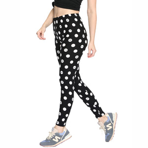 Women's Leggings Dots Bow Pattern Printing Elastic Waist Skinny Fashion Base Trousers