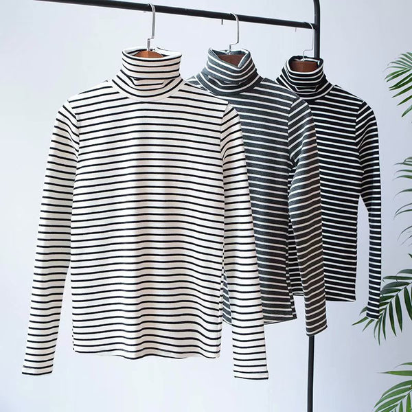 New high collar striped T-shirt spring large size ladies wild thin bottoming shirt