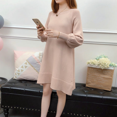 Spring and autumn new large size women's knit sweater bottoming shirt loose casual cover belly slim dress