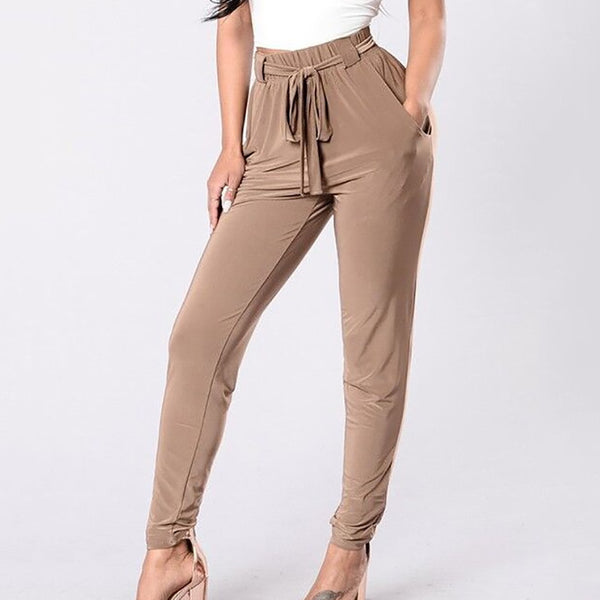 Belted solid color high waist pocket casual tights