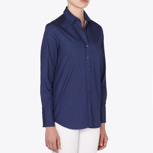 Valentina cotton poplin shirt  navy with white pin dot