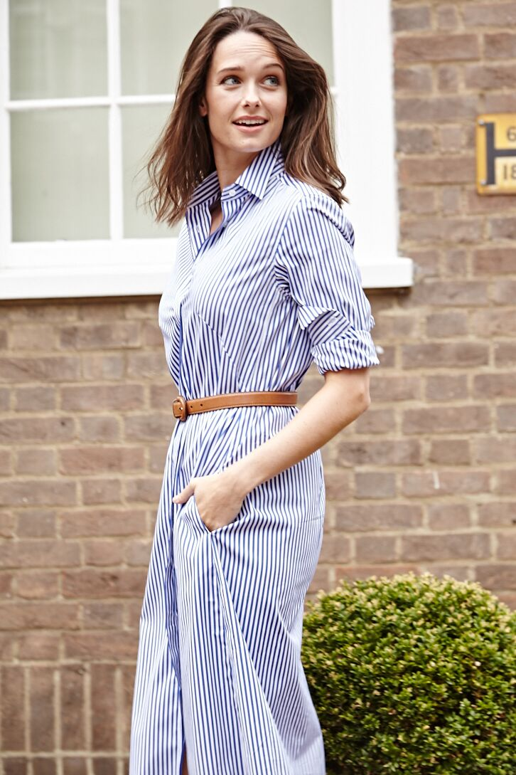 Victoria Striped Cotton Shirt Dress Blue and White