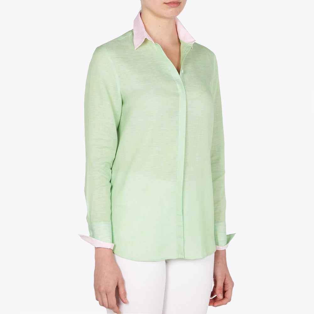 Valentina Apple green and Pink linen shirt