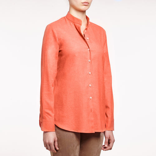 Valentina band collared brushed cotton Burnt orange shirt