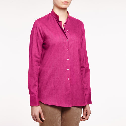 Valentina band collared brushed cotton Raspberry shirt