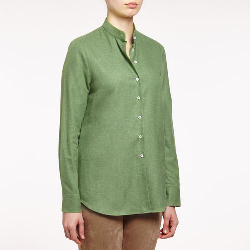 Valentina band collared brushed cotton olive shirt