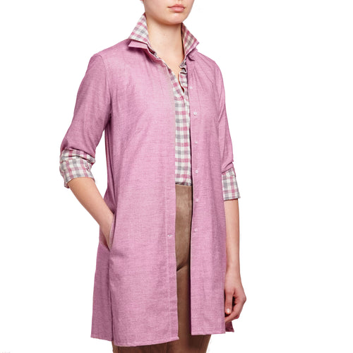 Sophia tunic shirt Raspberry cotton cashmere