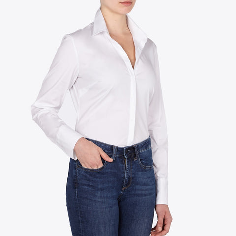 Audrey white cotton polin fitted body shirt
