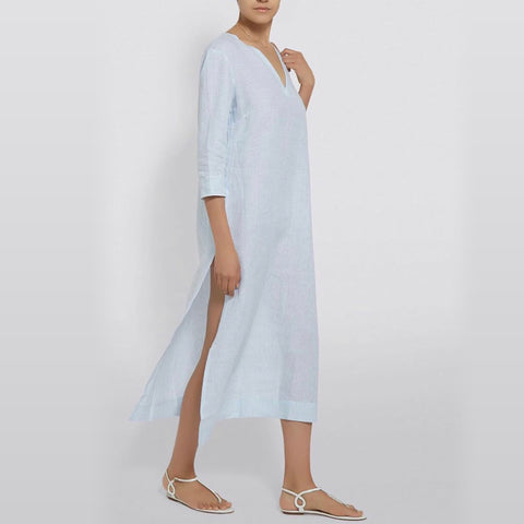 Barbara long V-Neck Dress, Blue and White stripe linen