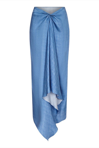 The Lulu Sarong Denim Blue Silk