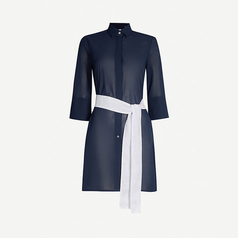 Sophia Navy Cotton Voile Tunic Shirt