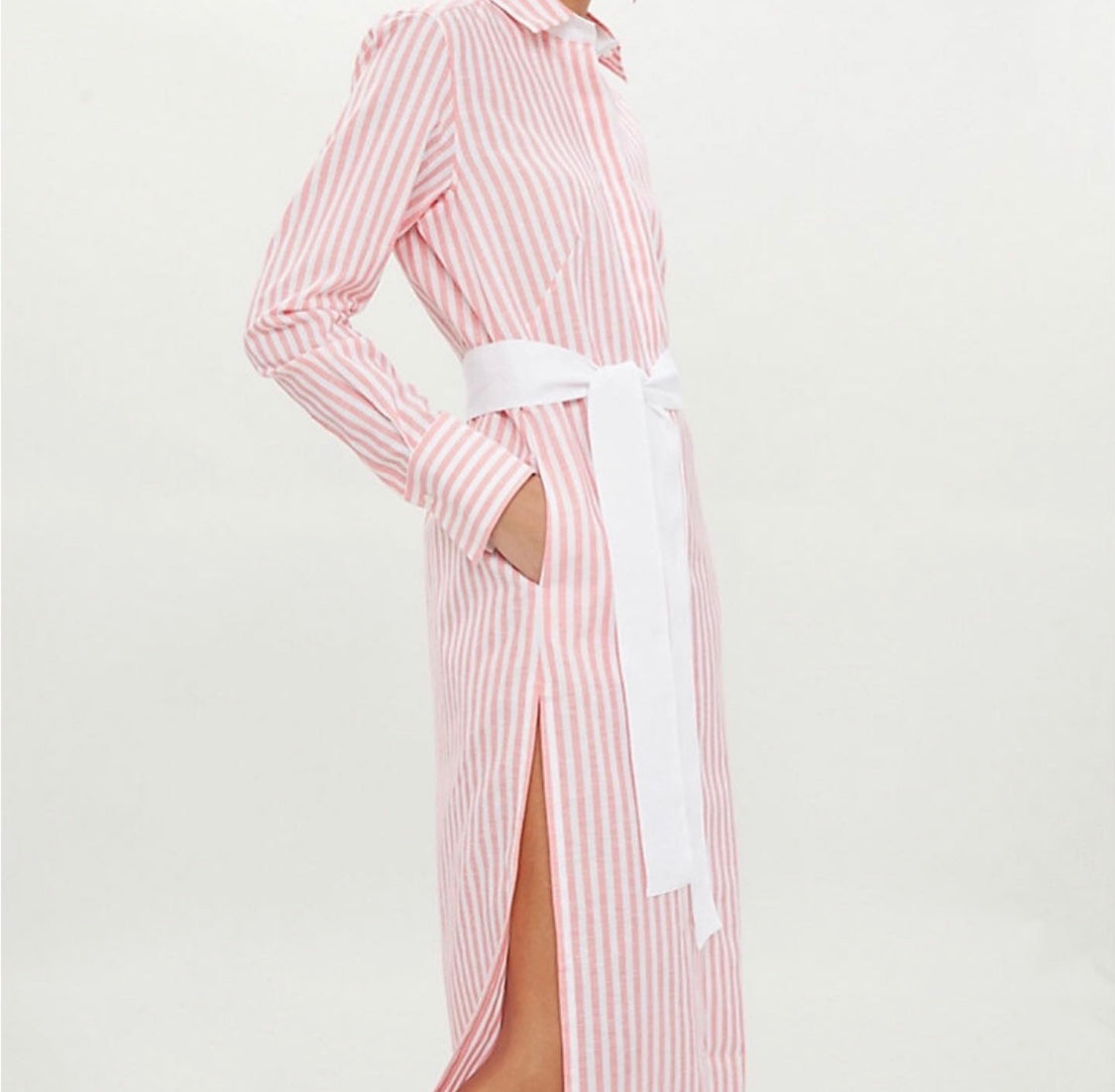 Vanessa Long Shirt Dress Cotton Linen Coral Stripe
