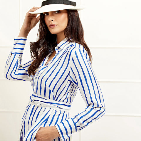 Victoria Silk Striped Shirtdress