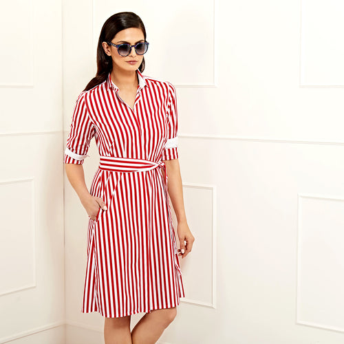 Victoria Shirtdress Red Cotton Stripe