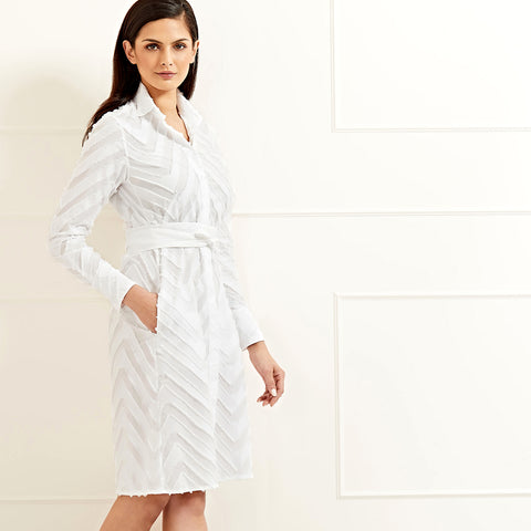 Victoria Shirt Dress Textured White Cotton