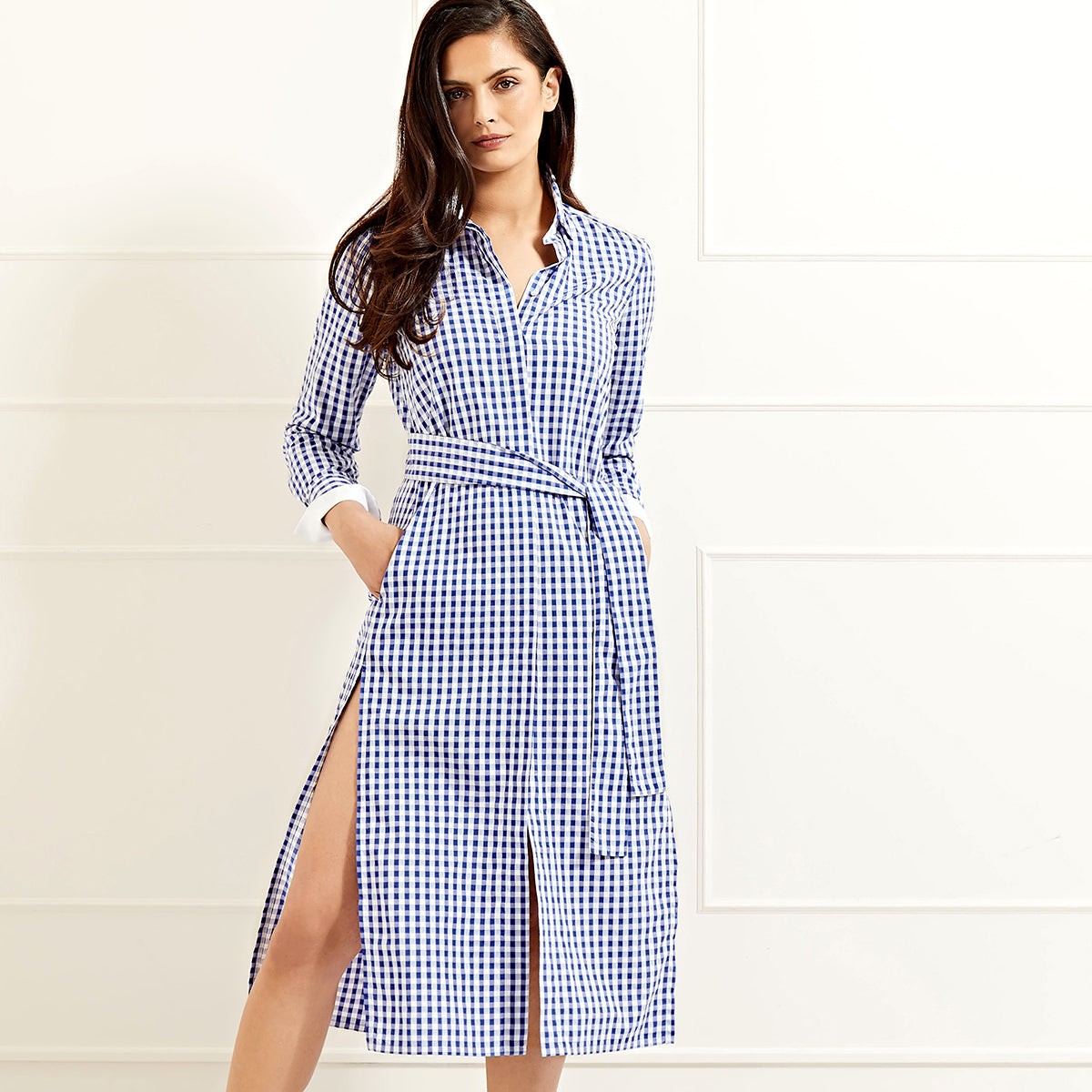 Vanessa Long  shirtdress - BLUE GINGHAM