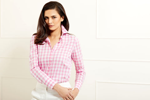 Valentina pink gingham cotton shirt
