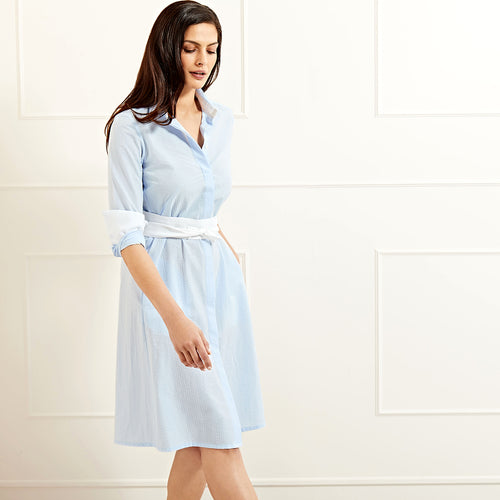 Victoria shirtdress light blue cotton seersucker