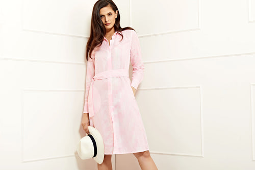 designer cotton linen  pink striped summer shirtdress for women PDN